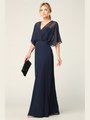 3338 Draped Sleeve Chiffon Evening Dress - Navy, Front View Thumbnail
