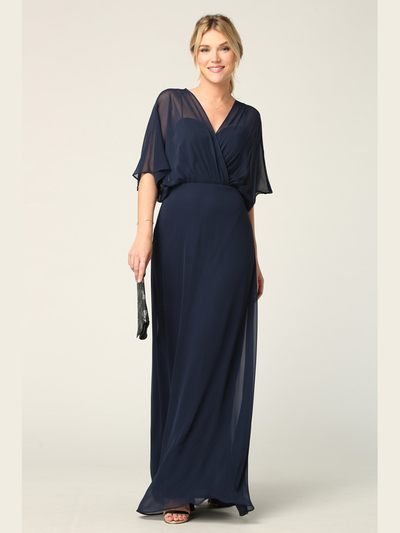 3338 Draped Sleeve Chiffon Evening Dress - Navy, Back View Medium