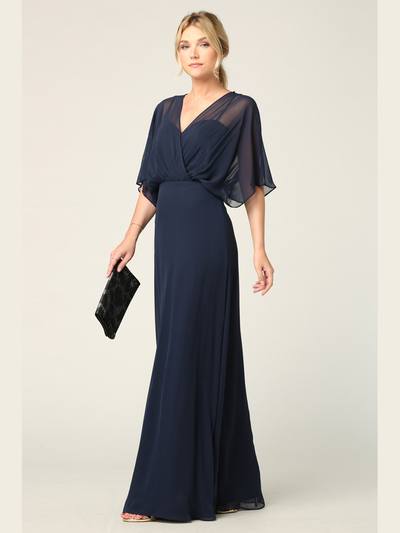 3338 Draped Sleeve Chiffon Evening Dress - Navy, Front View Medium