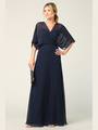 3338 Draped Sleeve Chiffon Evening Dress - Navy, Alt View Thumbnail