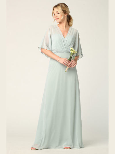 3338 Draped Sleeve Chiffon Evening Dress - Sage, Back View Medium