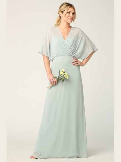 3338 Draped Sleeve Chiffon Evening Dress - Sage, Front View Medium