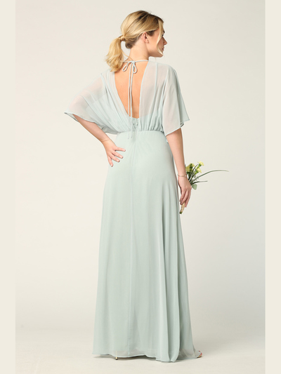 3338 Draped Sleeve Chiffon Evening Dress - Sage, Alt View Medium