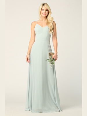 3341 Chiffon Evening Dress With Convertible Shoulder Straps, Sage