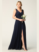 3342 Sleeveless V-Neck Empire Waist Evening Dress with Slit, Navy
