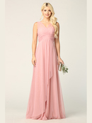 3344 Long Tulle Sleeveless Empire Waist Evening Dress, Dusty Rose
