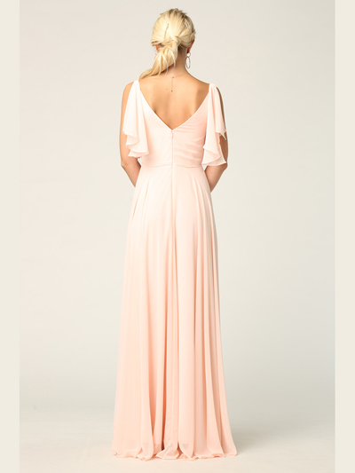 3345 V-Neck Long Chiffon Evening Dress With Flutter Sleeves - Blush, Back View Medium