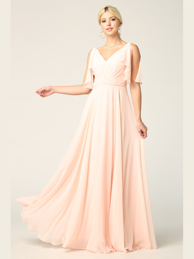 3345 V-Neck Long Chiffon Evening Dress With Flutter Sleeves - Blush, Front View Medium