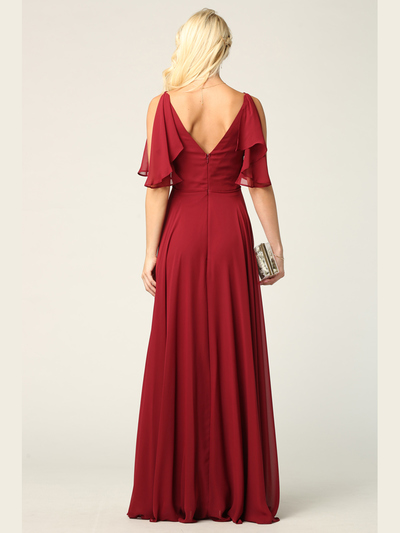 3345 V-Neck Long Chiffon Evening Dress With Flutter Sleeves - Burgundy, Back View Medium