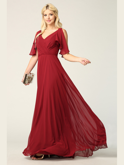 3345 V-Neck Long Chiffon Evening Dress With Flutter Sleeves - Burgundy, Front View Medium