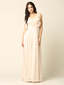 3345 V-Neck Long Chiffon Evening Dress With Flutter Sleeves - Champagne, Front View Thumbnail