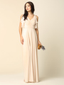 3345 V-Neck Long Chiffon Evening Dress With Flutter Sleeves - Champagne, Back View Thumbnail