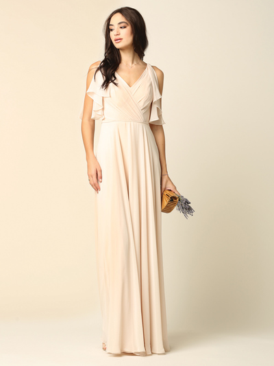 3345 V-Neck Long Chiffon Evening Dress With Flutter Sleeves - Champagne, Back View Medium