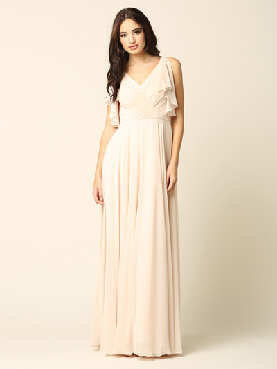 3345 V-Neck Long Chiffon Evening Dress With Flutter Sleeves - Champagne, Front View Medium