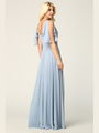 3345 V-Neck Long Chiffon Evening Dress With Flutter Sleeves - Dusty Blue, Back View Thumbnail