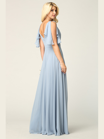 3345 V-Neck Long Chiffon Evening Dress With Flutter Sleeves - Dusty Blue, Back View Medium
