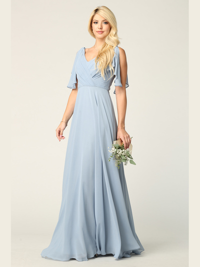 3345 V-Neck Long Chiffon Evening Dress With Flutter Sleeves - Dusty Blue, Front View Medium