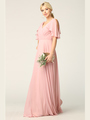 3345 V-Neck Long Chiffon Evening Dress With Flutter Sleeves - Dusty Rose, Front View Thumbnail