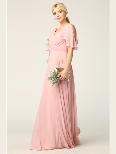 3345 V-Neck Long Chiffon Evening Dress With Flutter Sleeves - Dusty Rose, Front View Medium