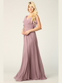 3345 V-Neck Long Chiffon Evening Dress With Flutter Sleeves - Mauve, Front View Thumbnail