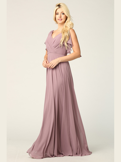 3345 V-Neck Long Chiffon Evening Dress With Flutter Sleeves - Mauve, Front View Medium