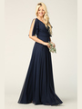 3345 V-Neck Long Chiffon Evening Dress With Flutter Sleeves - Navy, Back View Thumbnail