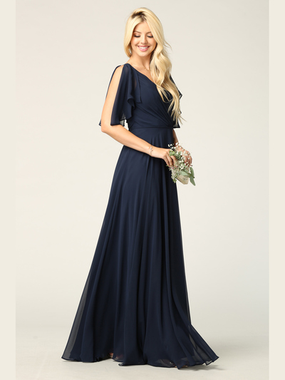 3345 V-Neck Long Chiffon Evening Dress With Flutter Sleeves - Navy, Back View Medium