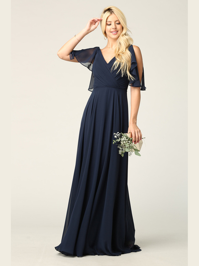 3345 V-Neck Long Chiffon Evening Dress With Flutter Sleeves - Navy, Front View Medium