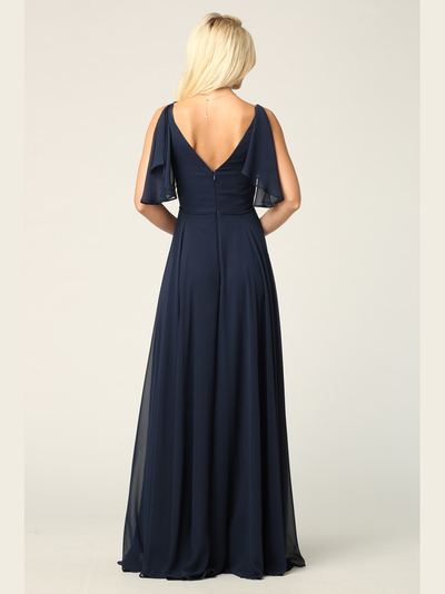 3345 V-Neck Long Chiffon Evening Dress With Flutter Sleeves - Navy, Alt View Medium