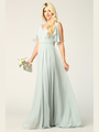 3345 V-Neck Long Chiffon Evening Dress With Flutter Sleeves - Sage, Front View Thumbnail