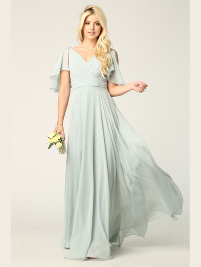3345 V-Neck Long Chiffon Evening Dress With Flutter Sleeves - Sage, Back View Medium