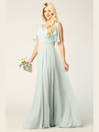 3345 V-Neck Long Chiffon Evening Dress With Flutter Sleeves - Sage, Front View Medium