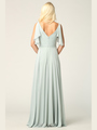 3345 V-Neck Long Chiffon Evening Dress With Flutter Sleeves - Sage, Alt View Thumbnail