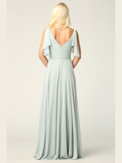 3345 V-Neck Long Chiffon Evening Dress With Flutter Sleeves - Sage, Alt View Medium