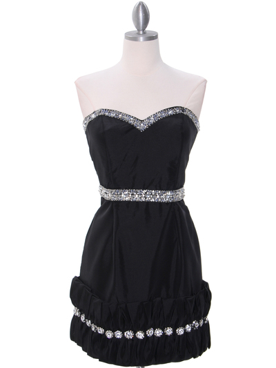 35062C Black Cocktail Dress with Rhinestone Trim by Terani - Black, Front View Medium