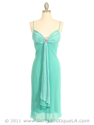 3574 Pleated Satin Top Turquoise Dress, Turquoise
