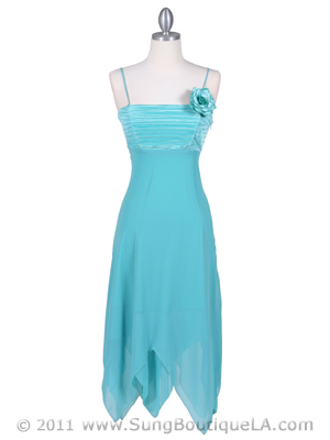 3584 Turquoise Pleated Satin Top Dress, Turquoise