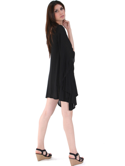 3623 One Sleeve Knitted Casual Dress - Black, Back View Medium