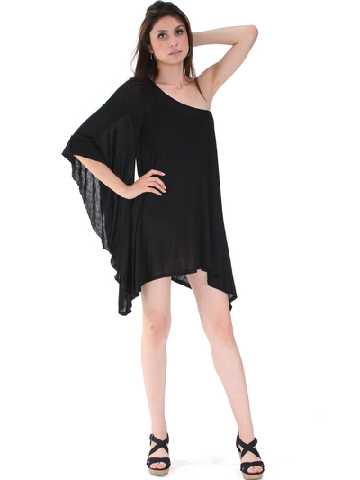 3623 One Sleeve Knitted Casual Dress - Black, Front View Medium