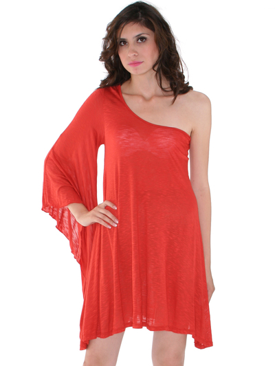 3623 One Sleeve Knitted Casual Dress - Dark Orange, Front View Medium