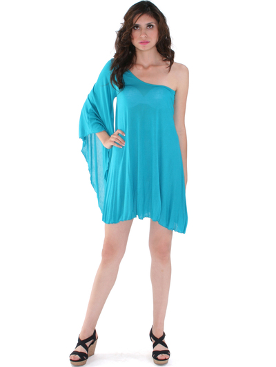 3623 One Sleeve Knitted Casual Dress - Jade, Front View Medium