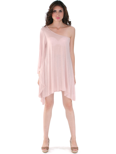 3623 One Sleeve Knitted Casual Dress - Nude, Front View Medium