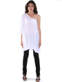 3623 One Sleeve Knitted Casual Dress - White, Front View Thumbnail