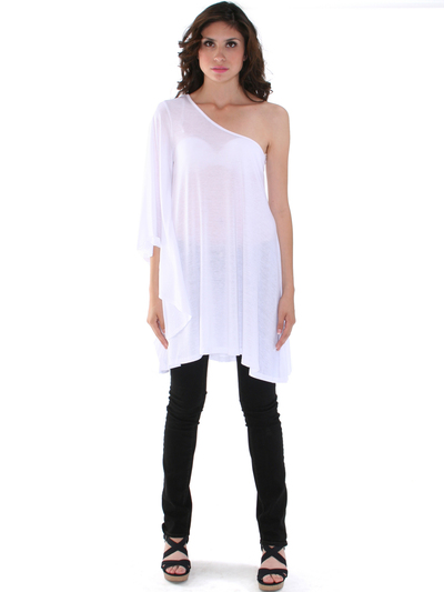 3623 One Sleeve Knitted Casual Dress - White, Front View Medium