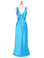 3687 Turquoise Satin Evening Dress - Turquoise, Front View Thumbnail