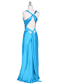 3687 Turquoise Satin Evening Dress - Turquoise, Back View Thumbnail