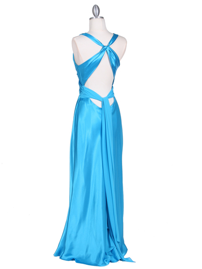 3687 Turquoise Satin Evening Dress - Turquoise, Back View Medium