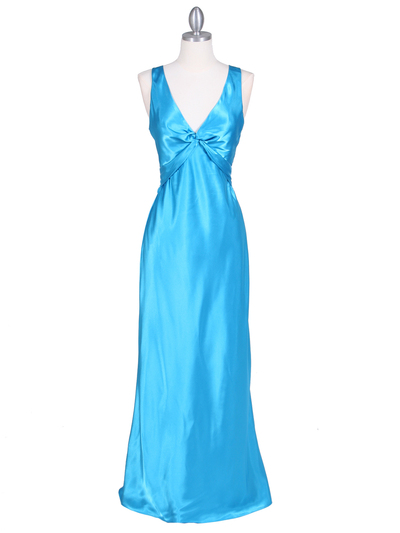 3687 Turquoise Satin Evening Dress - Turquoise, Front View Medium