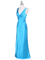 3687 Turquoise Satin Evening Dress - Turquoise, Alt View Thumbnail