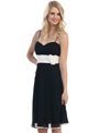 3727 Sweetheart Neckline Pleated Cocktail Dress - Black White, Front View Thumbnail